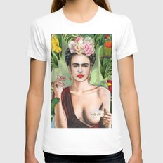 Frida con amigos MEDIUM White Womens Fitted Tee