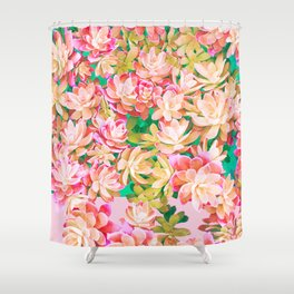 Cactus Fall - Pink and Green Shower Curtain