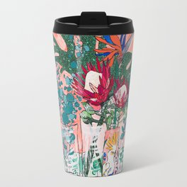 Cockatoo Vase - Bouquet of Flowers on Coral and Jungle Travel Mug