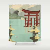 kaiju Shower Curtains featuring Kaiju Travel Poster by Duke Dastardly