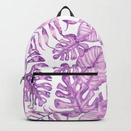 Purple violet pink watercolor tropical monster leaves Backpack