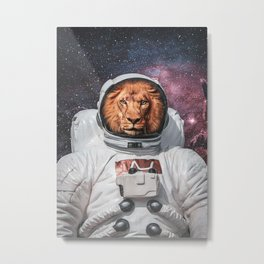 Lion On Space Poster Metal Print
