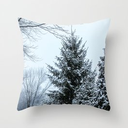 Snowy Christmas Tree Throw Pillow