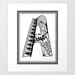 Zentangle A Monogram Alphabet Initials Art Print