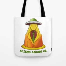 Alien and UFO Tote Bag