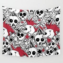 Seamles pattern. Crazy punk rock abstract background. Skulls,stars, rock symbols Wall Tapestry