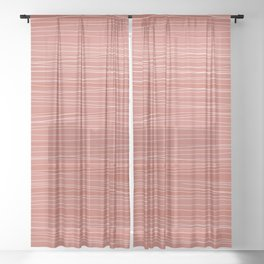 Wavy Lines Coral & White | Pattern Sheer Curtain