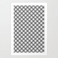 B&W Textile Pattern 06 Art Print