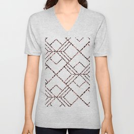 Pink black white geometrical abstract cheetah animal print Unisex V-Neck
