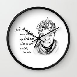 Maya Angelou Quote from Human Family Wall Clock