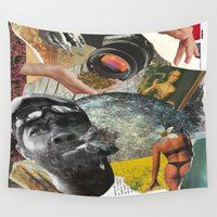 smoke Wall Tapestries featuring smoke. by Raw Flakes Collages