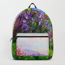 Lilac bloom on the river Backpack