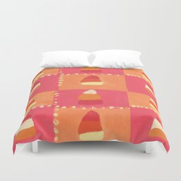Pink and Orange Candy Corn Textile Print Duvet Cover