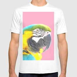 Macaw Portrait Pink Background T-shirt