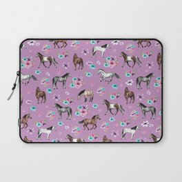 Purple Horse and Flower Print, Hand Drawn, Horse Illustration, Little Girls Decor Laptop Sleeve