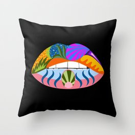 Lips with bold abstract patterns, retro pop art illustration Throw Pillow