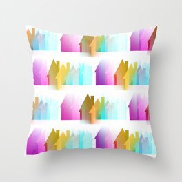 Rows Of Colored Houses Throw Pillow