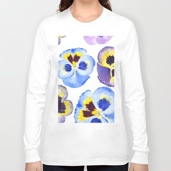 pansies pattern watercolor painting Long Sleeve T-shirt