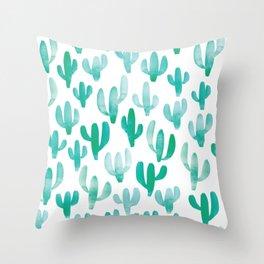 Watercolour Cactus Print Throw Pillow