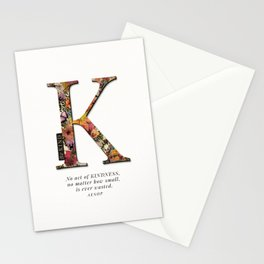 Floral letter K - Be KIND label text, Lo Lah Studio Stationery Cards