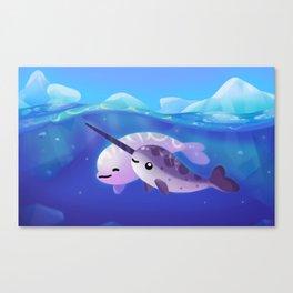 Beluga and Narwhal Canvas Print