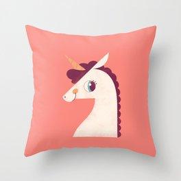 Minimal Unicorn Throw Pillow