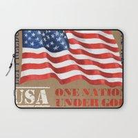 patriotic Laptop Sleeves featuring Patriotic Text by Debbie DeWitt
