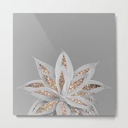 Gray Agave with Gold Glitter #1 #shiny #tropical #decor #art #society6 Metal Print