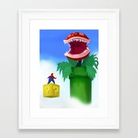 mario Framed Art Prints featuring Mario by Steve Spavento