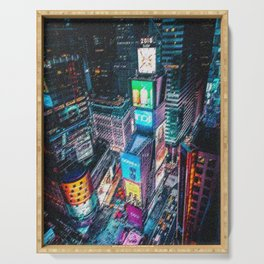 Times Square New York City Neon Lights Nighttime Landscape Painting by Jeanpaul Ferro Serving Tray