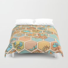 Golden Honeycomb Tangle - hexagon doodle in peach, blue, mint & cream Duvet Cover