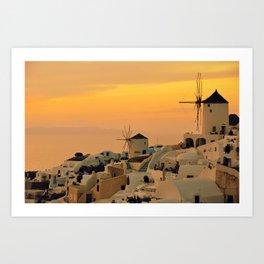 Sunset in Oia, Santorini Art Print