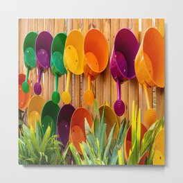 Colorful Watering Cans Metal Print