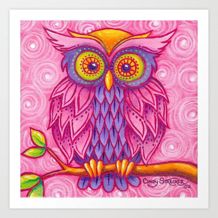 Owl in Pink Art Print