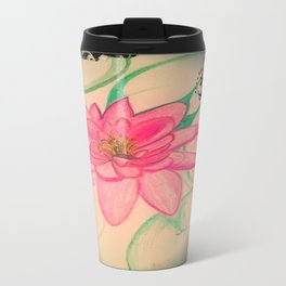 Pink Zen Lotus Drawing Travel Mug