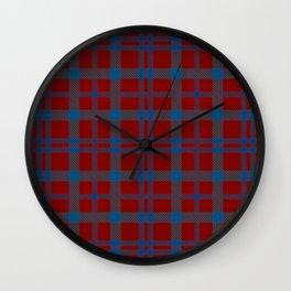 Tartan - Red and Blue Wall Clock