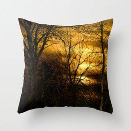 Winter's Sunset Throw Pillow