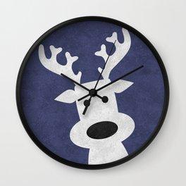 Christmas reindeer blue marble Wall Clock