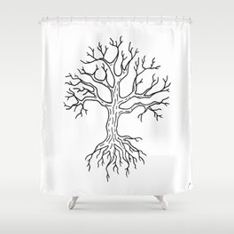 Leafless Rooted Tree Illustration Shower Curtain