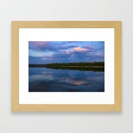 Summer landscap. Sunset on the river Framed Art Print