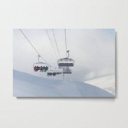 Skiers on chairlift, Alps Metal Print