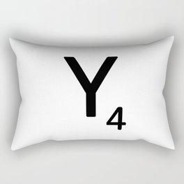 Letter Y - Custom Scrabble Letter Tile Art - Scrabble Y Initial Rectangular Pillow