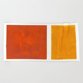 Burnt Orange Yellow Ochre Mid Century Modern Abstract Minimalist Rothko Color Field Squares Beach Towel