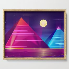 Synthwave Neon City #6 Serving Tray
