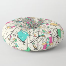 Colorful City Maps: Durham, North Carolina Floor Pillow