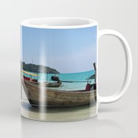 thailand Mugs featuring Thailand Boat by Sweet Little Pixels