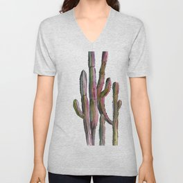 Cactus in green and pink Unisex V-Neck