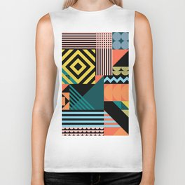 Colorful geometric patchwork pattern Biker Tank