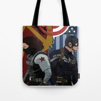 the winter soldier Tote Bags featuring Winter Soldier by Evan Tapper