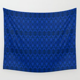 Blue Damask Wallpaper Wall Tapestry